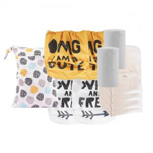 pack de couches lavables pas cher quatre inserts en chanvre quatre couches lavables un sac a couches deux rouleaux feuilles bambou