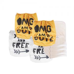 pack essentiel couches lavables bio economiques et ecologiques pas cher ecodiap lot de 4 couches jaune blanc